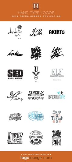2014 LogoLounge Trend Report Collection - Hand Type Logos These hand-drawn logos give a sense of unique personality to their brands, or show a refreshing turn from the more sterile, perfectionist feel of digital type. Typography Logo, Logo Branding, Logos, Brand Archetypes, Portfolio Logo, Hand Drawn Logo, Corporate Identity Design, Hand Type, Article Design