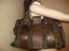 DONNA KARAN Sheepskin in Brown with textured Brown Leather LIMITED XL SIZE #DonnaKaran #shoulderbagpurse