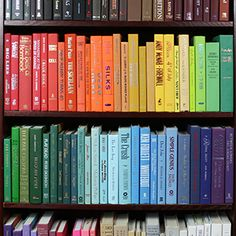 Books by Color. This website is so cool. They sell books by color or subject. Whether decorating or rounding out a collection, definitely worth checking out.