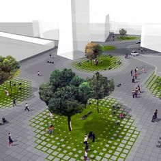 Landscape Architecture – Page 5704965036 Landscape Plaza, Landscape And Urbanism, Landscape Architecture Design, Green Architecture, Urban Landscape, Pavement Design, Plaza Design, Urban Ideas, Urban Planning