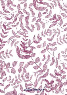 Atelier Hirundo / Elise Enjalbert / Copyright 2016 / #pattern #patterndesign #surfacedesign #illustration #motif #leaves #floral #print #floralprint