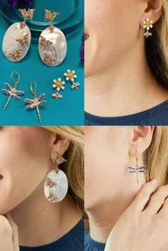 Discover the trend everyone is buzzing about: nature-inspired styles full of color and sparkle 🐝🦋✨ Item #: 946271, 944470, 924510 Trendy Jewelry, Jewelry Trends, Diamond Earrings, Pearl Earrings, Drop Earrings, Face Jewellery, Front Back Earrings, Midi Rings, Geometric Jewelry