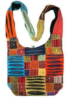 AT6186 Cotton Patch Work Razor Cut Shoulder Bohemian Gypsy Bag - Handbags Couture