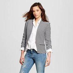 Women's Striped Ponte Blazer Black & White S - Merona™ : Target