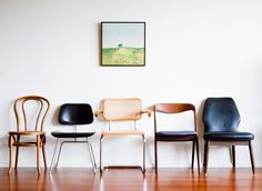 We love the look of mixing and matching chairs. Go Out to the thrift stores and pick your favorite few… add them to a cool refurbished table or line them up against the wall like this photo #chairs #mixandmatch #nancarrowrealtygroup #nrg
