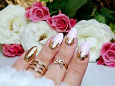 Gold flakes sequin nail art design review from bornprettystore.com customer