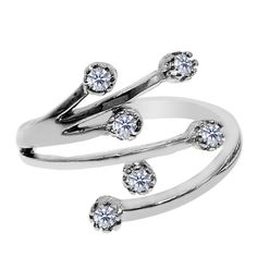 Sterling Silver Rhodium Plated Star Flower With CZ By Pass Style Adjustable Toe Ring