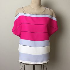 Loft stripe top Pull over style easy to wear loose style. 100% polyester. Please note that size tag is missing. But I believe it to be a small LOFT Tops