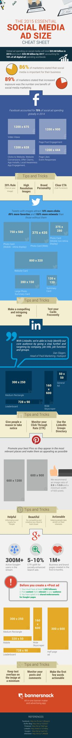 INFOGRAPHIC: The 2015 Essential Social Media Ad Size Cheat Sheet - @socialmediadel