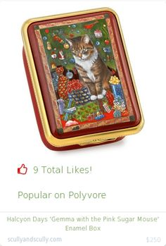 Top christmas gift on Polyvore.  9 people likes on Internet. halcyon days 'gemma with the pink sugar mouse' enamel box from scullyandscully christmas gifts. http://www.MostLikedGifts.com/top-popular-christmas-gifts/scullyandscully-christmas-gift-5489bb14e294f20980678db9-halcyon-days-'gemma-with-the-pink-sugar-mouse'-enamel-box