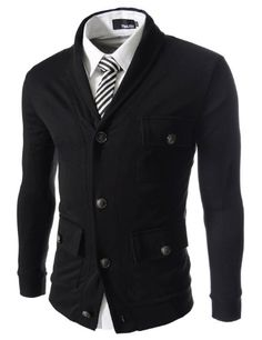 TheLees (GD133) Mens Slim Fit 3 Pocket Button Cardigan Black XX-Large(US X-Large) $30.71 #Sweaters #Apparel #TheLees