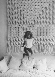 Extra large macrame wall hanging adds softness and warmth - 7' wide, 8' high