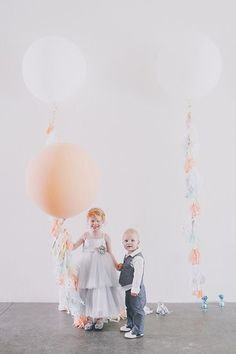 Ace Hotel Palm Springs wedding | Photo by Edyta Szyszlo Photography | Read more - http://www.100layercake.com/blog/?p=78534 #balloons #flowergirl #ringbearer #fringe