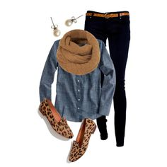"""Leopard Loafers"" by qtpiekelso on Polyvore but with leopard flats."