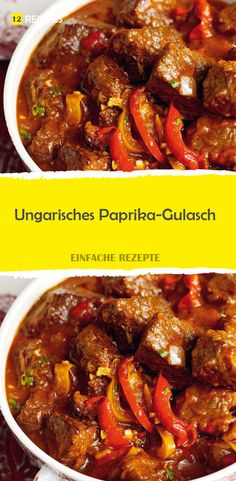 Hungarian Paprika Goulash – - New Site Shellfish Recipes, Meat Recipes, Gourmet Recipes, Cooking Recipes, Healthy Recipes, Hungarian Paprika, Seafood Appetizers, Goulash, Food Design