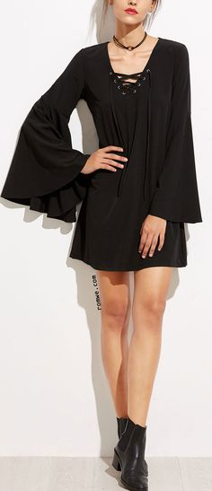 Black V Neck Lace Up Bell Sleeve Dress