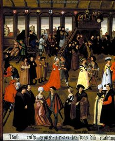 Couples dancing in the dance house of Augsburg,1500