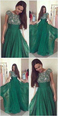 Green Beaded Prom Dress,Bodice Chiffon Prom Dress,Custom Made Evening – formalgowns Prom Dresses 2018, Elegant Prom Dresses, Long Prom Gowns, Lace Evening Dresses, Cheap Prom Dresses, A Line Long Dress, Fancy Gowns, Beaded Prom Dress, Jolie Photo