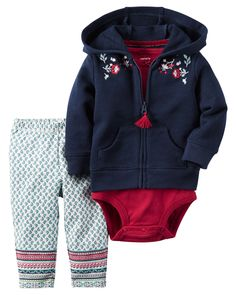Featuring an embroidered French terry hoodie, this 3-piece set is complete with stretchy patterned leggings and a babysoft bodysuit.