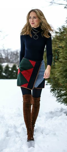 wool colorblock mini skirt with leather piping, navy turtleneck, brown suede over the knee boots