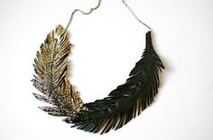 """Feather Necklace, Black Leather Feather Jewelry, Gold tipped Leather, Black Swan, """"Gilded Plumes"""" Statement Necklace. Sabrina Chin. LoveAtFirstBlush"""