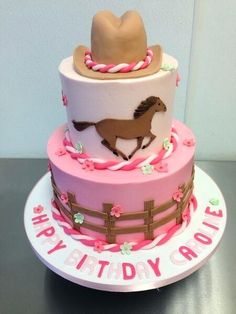 One tiered with horse on top - cowgirl birthday cake idea. Cowgirl Birthday Cakes, Birthday Cakes Girls Kids, Cowgirl Cakes, Horse Birthday Parties, Cake Birthday, Cake Kids, Cowgirl Party, Horse Party, 7th Birthday