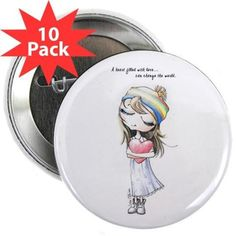 """Heart filled with Love 2.25"""" Button (10 pack)"""