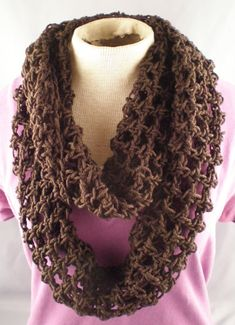 Items similar to Crochet Infinity Scarf in Brown - 3 Ways to Wear on Etsy