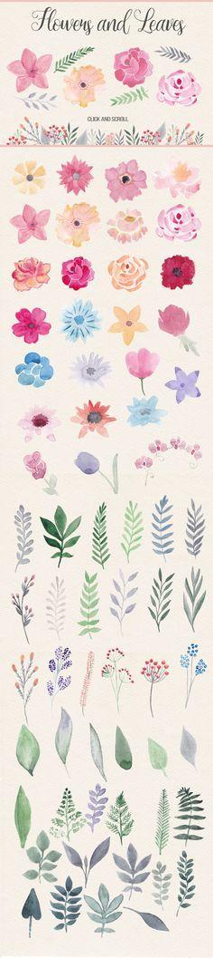 Watercolor Design Kit. Pink & Orange by Switzergirl on Creative Market