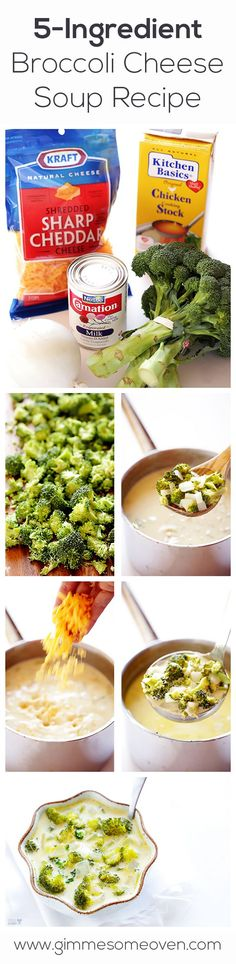 5 Ingredient Broccoli Cheese Soup.   I wonder if you could use FF cheese and FF evaporated milk...