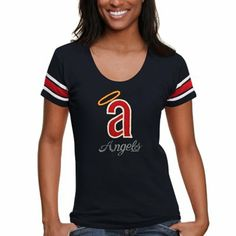 '47 Brand Los Angeles Angels of Anaheim Ladies Off-Campus Scoop Neck T-Shirt - Navy Blue
