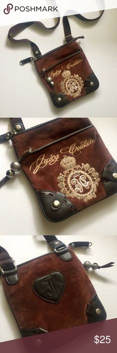 Juicy Couture Crossbody Bag This vintage square crossbody bag is adorned with many details and the soft velour material that Juicy Couture is known for. Flat, with two pockets. A rich chocolate brown color. Mint condition, never been used.  💲Bundle and save!! 🚫No trades/no holds 🔘Use OFFER button to negotiate ❓Please ask questions BEFORE buying Thanks for shopping my closet! 😁 Juicy Couture Bags Crossbody Bags