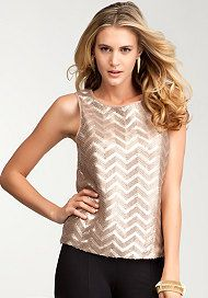 bebe Faux Leather & Sequin Tank.  Night out on the town?