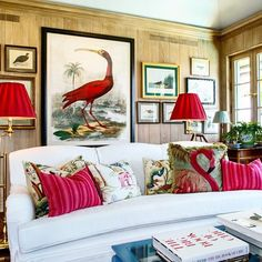 Decoration, Betsy Shiverick;  architecture Fairfax & Sammons, how a few pillows can really cheer a person up....#palmbeach #evergladesisland #southflorida #lovebetsyshiverick