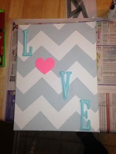 Chevron canvas with wooden letters