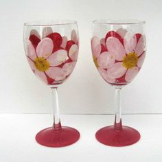 Hand Painted Flower Wine Glasses  Gorgeous!!!