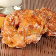 "Apple Fritters:  1 c apple (diced), 1 c AP flour, 1 1/2 t baking powder, 3 T sugar, 1/4 t salt, 1 egg (beaten), 2/3 c milk, vegetable oil (enough to have 2"" in your pot).  Glaze:  3-4 T milk, 1 t vanilla extract, 1 1/2 c confectioners' sugar.  Makes 12 small fritters."
