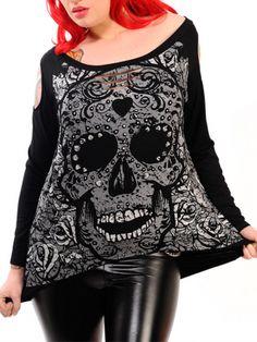 "Women's ""Candy Skull"" Sweatshirt (Black)"