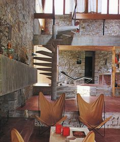 All rustic stone and wood interior. Spacy and luxurious. Interior Architecture, Interior And Exterior, Interior Design, Modern Interior, Interior Styling, Lofts, Barn Renovation, Rustic Stone, Duplex