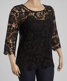Loving this Black Crochet Three-Quarter Sleeve Top - Plus on #zulily! #zulilyfinds
