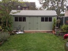 Garden Sheds Workshops 3.6 x 4.8m superior shed 2.0m eavessage valtti paint system with