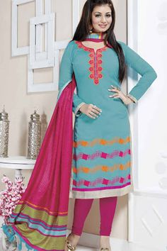 dbe385ca46 Aqua & Pink Chanderi Cotton Embroidered UnStitch Suit Indian Salwar Suit,  Churidar Suits, Chanderi