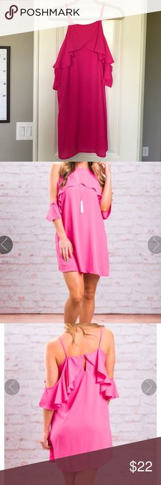 NWOT Cold Shoulder Dress Brand new - never worn! Hot pink - Cold Shoulder Design w/ Ruffle Sleeves - Fully Lined - 100% polyester - has no amount of stretch. Purchased from an online boutique - their model pics are included. Dresses