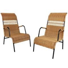 Two 1950s Rattan Armchairs in the Style of Louis Sognot