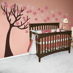 Leaning Tree with Flowers - Wall Decals