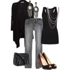 Blue & Leather 1 - Polyvore