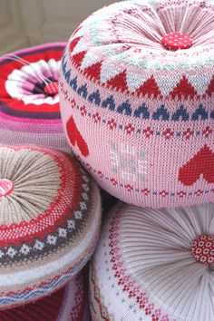 Sweaters transformed into floor cushions