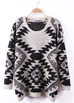#SheInside Black and Apricot Geo Pattern Tribal Fleck Sweater - Sheinside.com