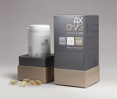 """Axom 3 is the new generation of Omega 3 body supplement. The design is based in combining two graphic disciplines in one, the first, the visual world of science and high-tech and the second the indulgent world of rich and pampering cosmetics & perfume. The dialog between these two worlds was the base concept of the design of this new innovative brand."