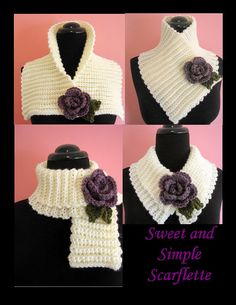 Ravelry: Sweet and Simple Scarflette with Rolled Rose by Elizabeth Ann White